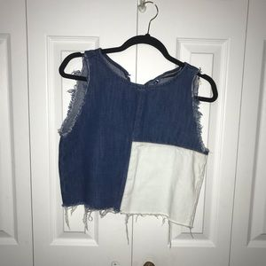 Zara patchwork denim top